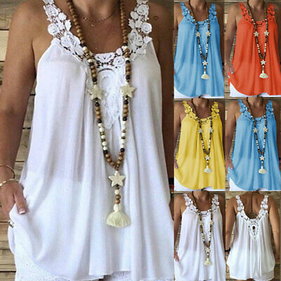 Plus Size Women Sleeveless Lace Tops Camisole Summer Loose Solid Vest Blouse Tee