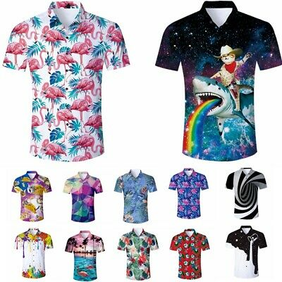 Hawaiian 3D Print Mens Button Down Casual Shirt Short Sleeve Summer Aloha Shirt
