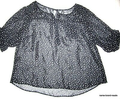 TORRID Womens PLUS 3 3X 22 24 Hearts Sheer SHIRT Top Hi Low Hem Black White