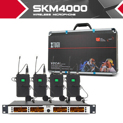 UHF 400Channels SKM4000 4Bodypack Wireless Microphones System for Stage DJ party