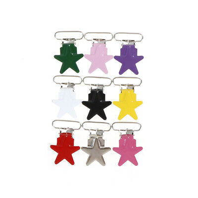 5Pcs Baby Star Metal Suspenders Clips Soothers Holder Dummy Pacifier Clip Fa!