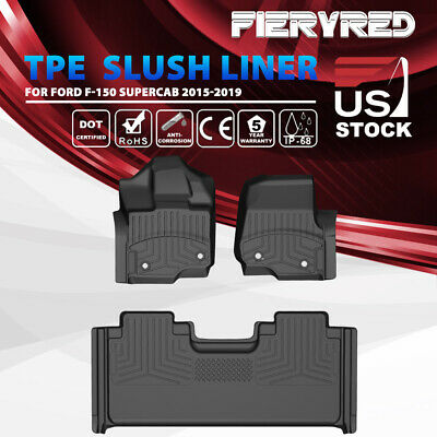 KIWI MASTER TPE Slush Liners Front Rear Floor Mats for Ford F-150 SuperCab15-19