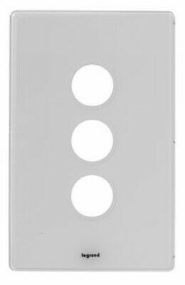 Legrand EXCEL LIFE DEDICATED SWITCH COVER PLATE 3-Gangs Clamp Mounting, Ice