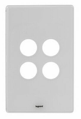 Legrand EXCEL LIFE DEDICATED SWITCH COVER PLATE 4-Gangs Clamp Mounting, Ice