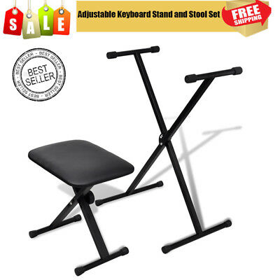 X-frame Quality Keyboard Accessory Set Stand Stool Seat Bench Adjustable Folding