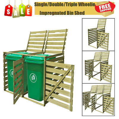 Double Removable Wheelie Bin Shed Wood Shelter Hider Cover for 240 L Bins Green