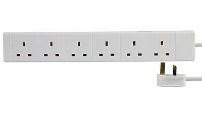 6-Way Extension Lead - Six Gang Multi Plug Socket - White Power Cable