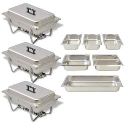 Three Piece Chafing Dish Bowl Set Food Warmer Container Tray Stainless Steel UK