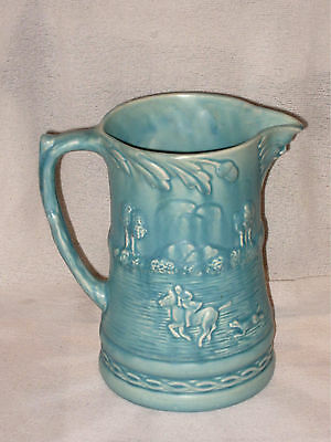 """LARGE VINTAGE BLUE JUG BY ARTHUR WOOD WITH HUNTING SCENE & MASK c1940's 8"""" TALL"""
