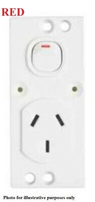 Clipsal SINGLE SWITCH SOCKET OUTLET 220x175mm 250V 10A Double Pole,Red*AUS Brand