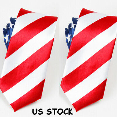 8e162cf9595f American Flag Mens Neck Tie USA Patriotic NeckTie 57 Inches Long  Red-White-Blue