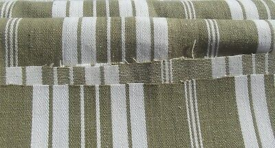 Vintage French Fabric 1930s Striped Ticking Herringbone Classic Textile