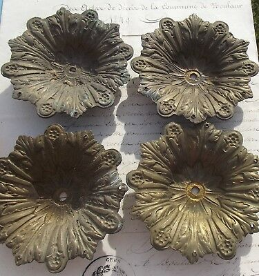 Antique French Candle drip trays floral Candelabra Bronze Accent plaques
