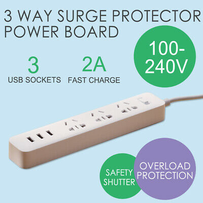🔥 Power Board 3 Way Outlets Socket 3 Usb Charging Charger Ports Surge Protector
