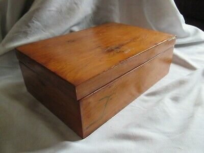 Vintage Jewellery Box Lined - Wood with Brass Hinges