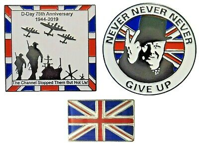 WW2 D Day 75th 2019 Winston Churchill NEVER GIVE UP & GB Flag Enamel Badges Set