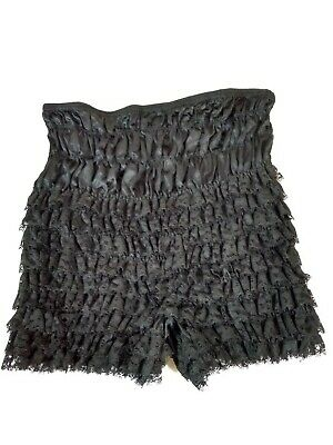 Vintage Malco Modes Square Dance Black Lace Frilly Pettipants Nylon