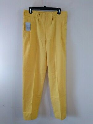 NOS High Waisted Pants Vintage 1980s Yellow Tapered Leg