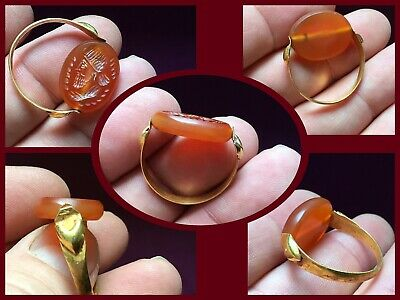 Ancient Sasanian Gold Swivel Ring Carnelian Intaglio Seal c250/600AD
