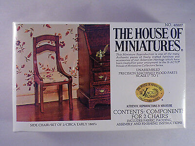 House of Miniatures Doll Furniture Xacto Side Chair Set Of Two # 40007 Kit