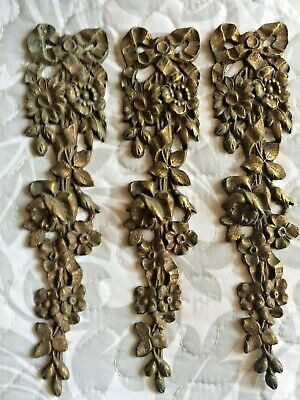 Antique French Bronze Ormolu Escutcheons Art Nouveau lovely detail. x 3