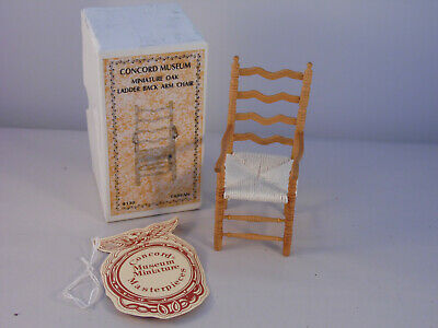 Vintage Concord Museum Dollhouse Miniatures Ladder Back Arm Chair New #238