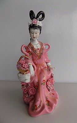 Vintage Asian Chinese Oriental Statue Pink Rose Porcelain Figure Court Lady Bskt