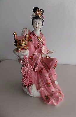 Vintage Chinese Asian Oriental Pink Porcelain Figure Court Lady
