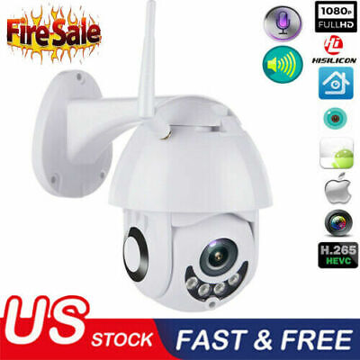 1080P HD Waterproof Outdoor WiFi PTZ Pan Tilt Security IP IR Camera Night Vision