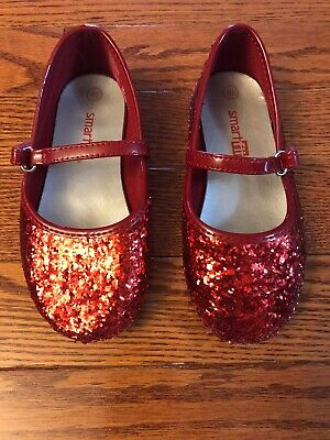 44815fef5 Wizard of Oz Dorothy RUBY Slippers Red Glitter Flat Shoes Girls Size 8.5  SmartFi