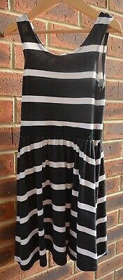H & M Black & White Stripe Summer Dress Age 8-9