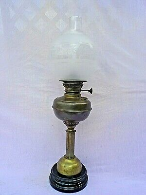 Old Brass Column Ceramic Base English Sun Make Oil Lamp Excellent Condition Gwo
