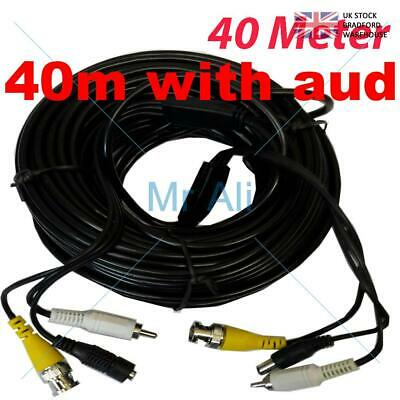 BLACK 40m PRE-MADE SIAMESE CABLE CCTV BNC VIDEO DC POWER AND AUDIO CABLE