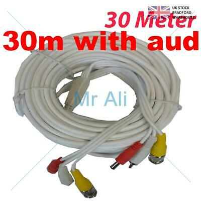 30m PRE-MADE SIAMESE CABLE CCTV BNC VIDEO DC POWER AND AUDIO CABLE