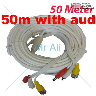 white 50m PRE-MADE SIAMESE CABLE CCTV BNC VIDEO DC POWER AND AUDIO CABLE