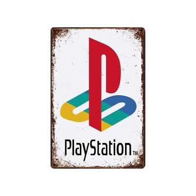 Playstation Tin Metal Sign Antique Rustic Video game Wall Art decor Man Cave