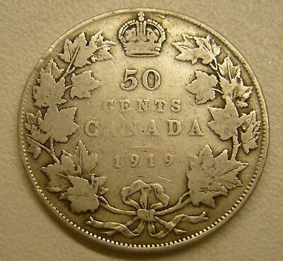1919 CANADA SILVER 50 FIFTY CENT Coin