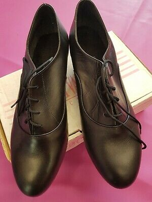 Line Dancing Shoes Oxford Lace Up Marching Band Shoes Black Leather Size UK 7.5