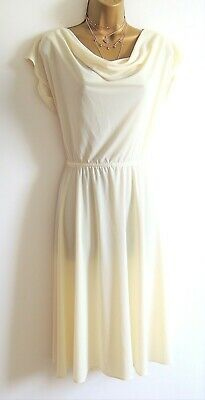 Vintage M&S St Michael Ivory Cowl Neck Summer Dress Size 12