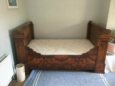 Antique French Sleigh Bed; 188cm x 110cm; Good Condition