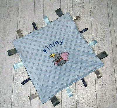 Personalised Luxury Handmade Baby Dumbo Taggy Taggie Blanket Boy Girl Gift Tag