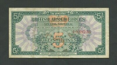 BRITISH ARMED FORCES  5 sh  1946  1st Issue  About VF  England Banknotes