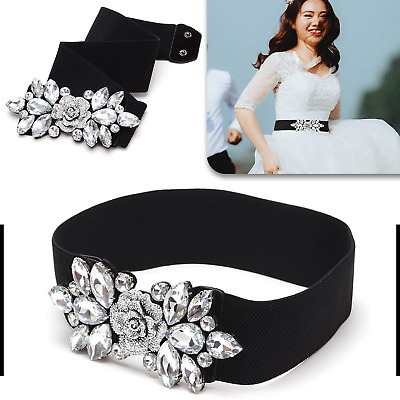 Black Waist Belt Elasticated Stretchable Women Ladies Girls Diamante Rhinestones