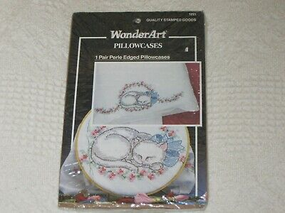 VINTAGE WonderArt Crafts Pair of Pillow Cases Embroidery Sleeping Kitten NEW