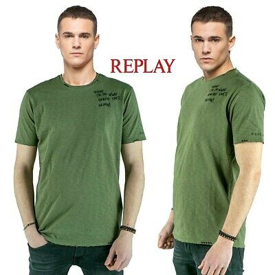 new style 65abe d53a3 T-SHIRT UOMO REPLAY maglietta tshirt verde militare a effetto used vintage  M3741