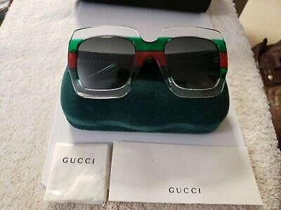 392075e693e Authentic Gucci GG0178S 007 Transparent Green Red Squared Multicolor  Sunglasses