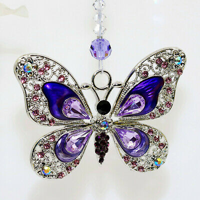 Big Purple Enamel Rhinestone Butterfly Suncatcher m/w Strand of Swarovski Beads