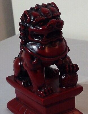 Chinese Oriental Red Resin Dragon