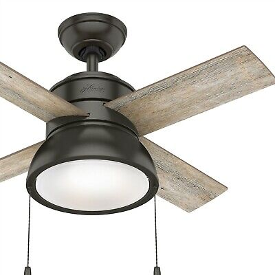 Hunter Fan 36 inch Contemporary Noble Bronze Indoor Ceiling Fan with Light Kit