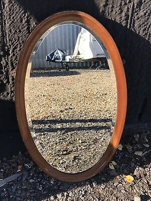 Gorgeous oval bevelled Edwardian mirror - inlaid frame with different woods